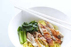 Roasted duck with yellow jade noodles Royalty Free Stock Image