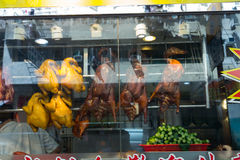 Roasted Ducks Hung at a Chinese Restaurant Stock Image