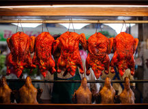 Roasted ducks in a  market. Stock Images