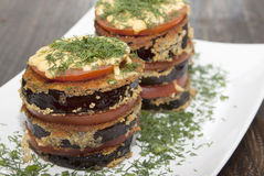 Roasted eggplant gratin Stock Photography