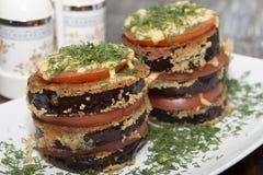 Roasted eggplant gratin Royalty Free Stock Images
