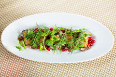 Roasted eggplant rolls stuffed with pomegranate and herbs. Royalty Free Stock Photography