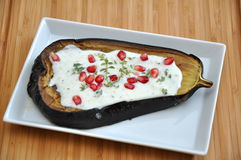 Roasted eggplant with yogurt Royalty Free Stock Image