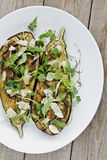 Roasted Eggplants. With Fresh Herbs Royalty Free Stock Photography