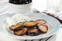 Roasted eggplants with tzatziki Stock Image