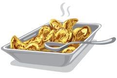 Roasted a fait cuire des pommes de terre dans le plat illustration libre de droits