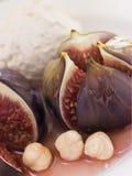 Roasted Figs with Hazelnut Cream Stock Photo