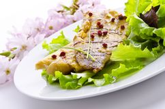Roasted fish with balsamico. Roasted one fish with balsamico cream ones stock photo