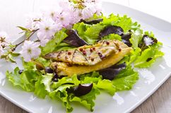 Roasted fish with balsamico. Roasted one fish with balsamico cream ones stock images
