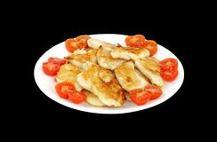 Roasted Fish in oven and garnish with cherry tomato Royalty Free Stock Photo