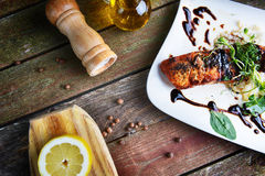 Roasted fish and  rice Royalty Free Stock Images