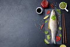Roasted fish with sauces, fresh herbs and lime Stock Photography