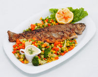 Roasted fish with vegetables Royalty Free Stock Photo