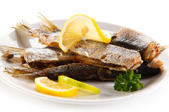 Roasted fish and vegetables Royalty Free Stock Images
