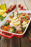 Roasted fish with vegetables Royalty Free Stock Photos
