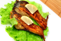 Roasted fresh bream on a plate Royalty Free Stock Photo