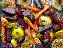 Roasted fruits and vegetables royalty free stock images