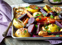 Roasted fruits and vegetables royalty free stock photography