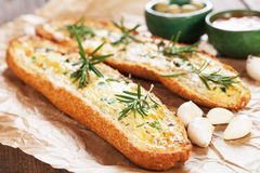 Roasted garlic bread Stock Photo