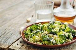 Roasted garlic broccoli quinoa salad Royalty Free Stock Photos