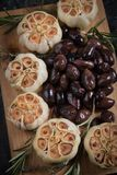 Roasted garlic bulbs. Used in soups, sauces and stews Royalty Free Stock Images