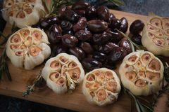 Roasted garlic bulbs. Used in soups, sauces and stews Royalty Free Stock Photo