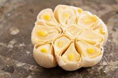 Roasted garlic head on baking sheet Royalty Free Stock Photo