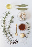 Roasted Garlic Ingredients. From Above Royalty Free Stock Image