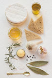Roasted Garlic Ingredients with Fresh Camembert and Bread Stock Photos