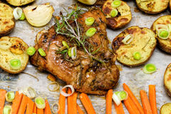 Roasted garlic and lemon turkey with vegetables and rosemary. Homemade dinner Stock Photo