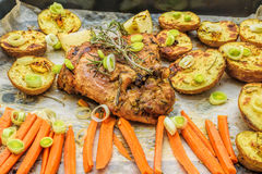 Roasted garlic and lemon turkey with vegetables and rosemary. Homemade dinner Royalty Free Stock Photo