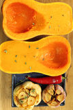 Roasted garlic and pumpkin. Stock Images