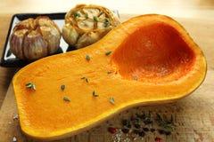Roasted garlic and pumpkin. Stock Image