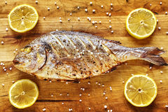 Roasted gilt head bream fish on a wooden table. Roasted gilt head bream fish on a wooden table with lemons and coarse grained salt Royalty Free Stock Photography