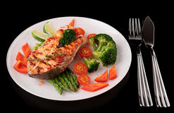 Roasted gilt-head bream with vegetables on plate, isolated on bl Stock Photos