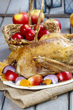 Roasted goose with apples and vegetables on wooden table. Royalty Free Stock Photo