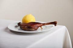 Roasted goose leg Royalty Free Stock Photography