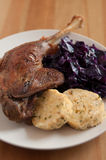Roasted goose leg. With braised red cabbage and dumplings stock photos