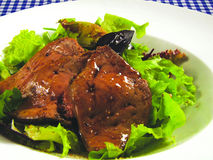Roasted goose liver Stock Photo