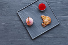 Roasted goose liver fois gras with pear, restaurant food Stock Photo
