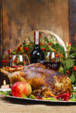 Roasted goose on wooden table Royalty Free Stock Photography