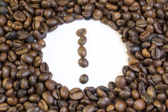 Roasted grains of black coffee. Royalty Free Stock Image
