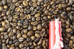 Roasted grains of black coffee. Royalty Free Stock Photos