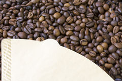 Roasted grains of black coffee. Stock Photo
