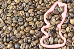 Roasted grains of black coffee. Royalty Free Stock Images