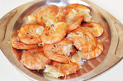 Roasted greek mediterranean shrimps Stock Image