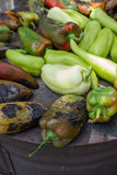 Roasted green peppers on the barbecue Royalty Free Stock Image