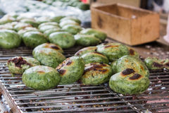 Roasted green tea steamed stuff bun on oven . Royalty Free Stock Image