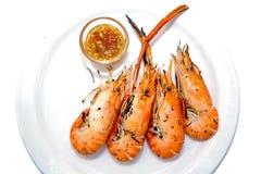 Roasted grelhou o camarão ou o camarão gigante do rio fotografia de stock royalty free