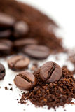 Roasted and ground coffee bean Royalty Free Stock Photo